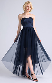 Lanting Bride Asymmetrical Satin / Tulle Bridesmaid Dress A-line Sweetheart with Criss Cross / Ruching