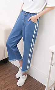 Women's Solid Blue Wide Leg Pants,Simple