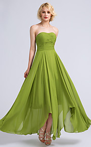 Lanting Bride Ankle-length Chiffon Bridesmaid Dress A-line Strapless with Ruching