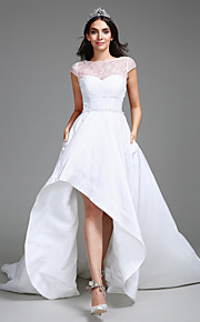 Lanting Bride Ball Gown Wedding Dress Asymmetrical Sweetheart Taffeta with Lace / Pearl / Sequin