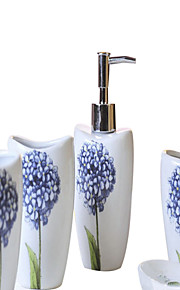 Hydrangea azul patrón de baño de cinco piezas caja de juego +