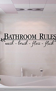 Creative Fashion English Words Bathroom Rules Wall Stickers PVC WC Bathroom Stickers
