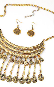 European Style Fashion Simple Metal Droplets Tassel Short Necklace Earring Sets