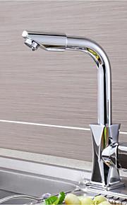 Moderne Uttrekkbar / pull-down Bolleservant Foss with  Messing Ventil Enkelt Håndtak Et Hull for  Olje-gnidd Bronse , Kjøkken Kran