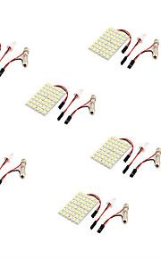 youoklight® 6stk t10 / guirlande 8W 500lm 48 x SMD 5050 førte hvidt lys bil læselys / panel lys - (12V)