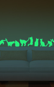 9Pcs/Set Luminous Wall Stickers Cats Decorative Wall Luminous Fluorescent Wall Stickers Home Decor Living Room