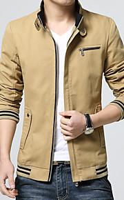 男性用 プレイン / 水玉 カジュアル ジャケット,長袖,コットン,ブラック / ブルー / レッド / イエロー