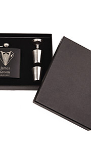 Personalized Wedding Party Gifts, Stainless Steel Engraved Wedding Flasks Set,Groomsmen Gifts(6 oz)