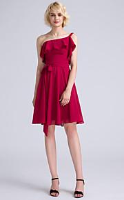 Lanting Bride Knee-length Chiffon Bridesmaid Dress A-line One Shoulder