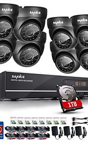sannce® 720p ahd 8ch DVR CCTV vigilância em casa sistema de câmera de segurança preto câmera dome built-in HDD de 1TB