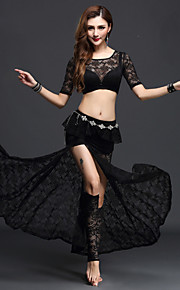 Belly Dance Outfits Women's Performance Lace 3 Pieces Black / Fuchsia / Green / Royal Blue / White / Burgundy