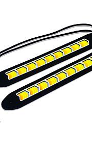 Jiawen wit + geel licht cob leidde 400LM auto dagrijlichten (dc 12v / 2 stuks)