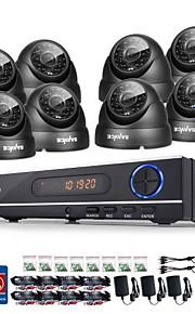 sannce® 720p ahd 8-kanaals cctv dvr zwarte dome camera thuis surveillance bewakingscamera