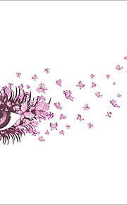 Wall Stickers Wall Decals, Fashion Creative Eye Pink Butterfly PVC Wall Sticker