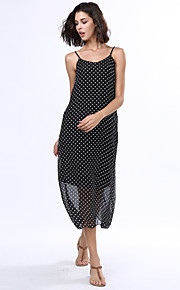Women's Beach Boho Loose Dress,Polka Dot Strap Maxi Sleeveless Black Rayon Summer
