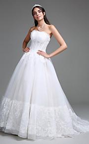 Lanting Bride A-line Wedding Dress Court Train Strapless Tulle with Appliques