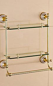 Mensola del bagno / Gadget per il bagno / Ti-PVD / A muro /60cm*14cm*47cm(23.6*5.5*18.5inch) /Ottone / Vetro /Moderno /60CM 14CM 1.6KG