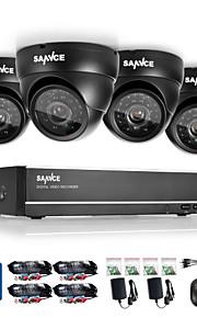 4 canais sannce® sistema de vigilância 720p DVR 1280 * 720 interna câmeras de segurança ao ar livre máxima ir distância (30m) HDD