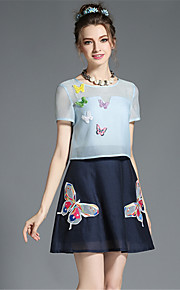 Women's Vintage Fashion Hollow Embroidery Butterfly Color Block Fake Two Piece Party Casual Dress