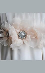 새틴 / 새틴 & 튤 / 쉬폰 / 합금 웨딩 / 파티/이브닝 / 일상복 창틀-꽃 / 모조 다이아몬드 여성 86 ½인치(220cm) 꽃 / 모조 다이아몬드