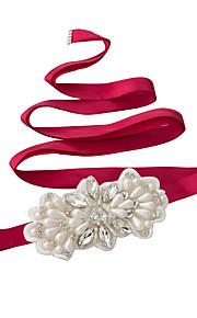 Satin Wedding / Party/ Evening / Dailywear Sash - Sequins / Beading / Pearls / Crystal / Rhinestone Women's Sashes