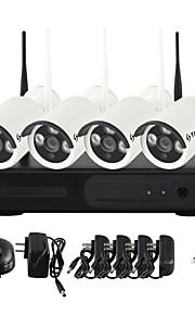 yanse® 1.3MP visão noturna ip câmera de segurança wi-fi sistema de CCTV NVR kit ir sem fios PNP (4pcs / HDMI / 960p / p2p)