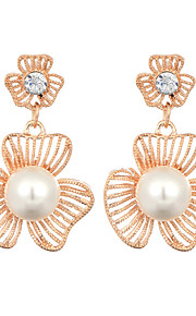 New Arrival 2016 Korean Jewelry 18K Gold Plated Hollow Flower Drop Earrings For Women Fashion Pearl Earring Jewelry