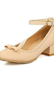 Women's Heels Summer / Fall Comfort / Round Toe PU Office & Career / Casual Chunky Heel Buckle Pink / Beige Others