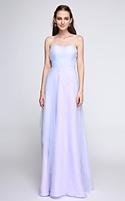 Lanting Bride Floor-length Tulle Bridesmaid Dress - Elegant Sheath / Column Sweetheart with Side Draping