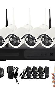 yanse® 1.0Mp visão noturna ip câmera de segurança wi-fi sistema de CCTV NVR kit ir sem fios PNP (4pcs / HDMI / 720p / p2p)