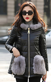 Women's Plus Size / Casual/Daily / Party/Cocktail Sexy / Simple Fur Coat,Color Block Hooded Long Sleeve Fall /