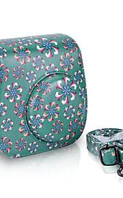 trompet blomst pu læderetui taske til Fujifilm instax mini 8 øjeblikkelig filmkamera, grøn