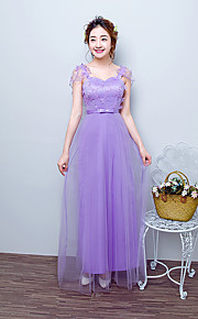 Ankle-length Satin / Tulle Bridesmaid Dress A-line Straps with Bow(s) / Embroidery