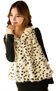 Women's Plus Size /  Party/Cocktail Sexy / Simple Fur Coat,Leopard Hooded Sleeveless Fall / Winter White Acrylic Thick