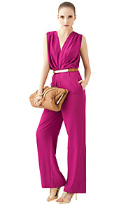 JoanneKitten Women's Sexy Deep V Neck Sleeveless Slim Long Jumpsuit