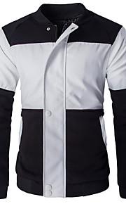 남성의 자켓 패치 워크 긴 소매 캐쥬얼 / 정장 스페셜 가죽 타입,블랙