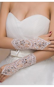 Elbow Length Fingerless Glove Elastic Satin Bridal Gloves Spring / Summer / Fall / Winter lace