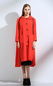 Women's Casual/Daily Street chic Trench Coat,Solid Hooded Long Sleeve Spring / Fall Orange Polyester Medium