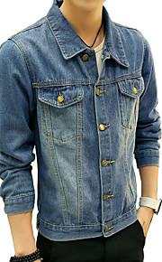 남성의 자켓 퓨어 긴 소매 캐쥬얼 / 플러스 사이즈 면,블루
