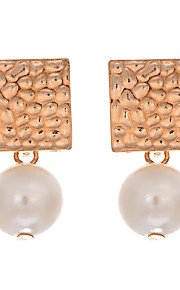 New 2016 Korean Fashion Jewelry Gold Plated Pearl Stud Earrings For Women Alloy Square Dangle Earring Jewelry