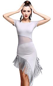 Latin Dance Dresses Women's Training Milk Fiber Lace / Tassel(s) 1 Piece Latin Dance Short Sleeve High Dress