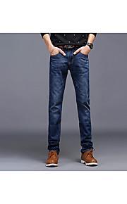 Ensfarvet Mænds Fritid Jeans Bomuld Blå