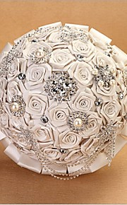 """Wedding Flowers Round Roses Bouquets Wedding Satin 10.24""""(Approx.26cm)"""