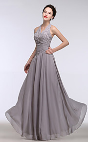 Floor-length Chiffon Bridesmaid Dress A-line Halter with Side Draping