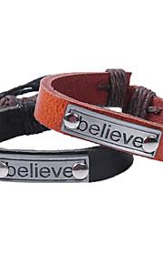 Chaînes & Bracelets / Charmes pour Bracelets / Bracelets en cuir 1pc,A la Mode / Vintage / Style Punk / Ajustable / PersonnalitéForme de