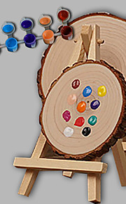 E-HOME® Personalized DIY Hand Drawn Natural Wood Wedding Gift - Round The Easel  (Includes 12 Ink Colors)Big Size