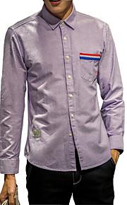 Camisa De los hombres Un Color Casual-Algodón-Manga Larga-Azul / Morado / Gris