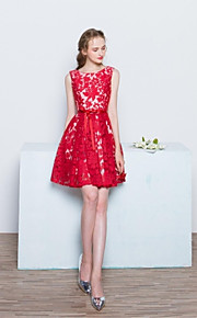 Short / Mini Lace / Satin Bridesmaid Dress A-line Scoop with Bow(s) / Lace
