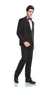 Tuxedos Tailored Fit Peak Single Breasted Two-buttons  Wool & Polyester Blended Solid 2  Piece Black
