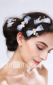 Women's Tulle / Alloy / Imitation Pearl Headpiece-Wedding / Special Occasion Flowers 4 Pieces